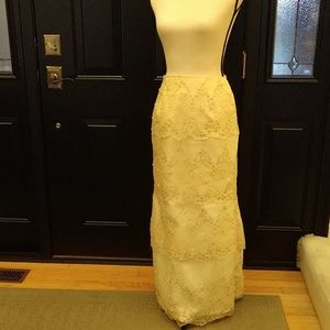 Home Sewn Pale Yellow Embroidered & Beaded Skirt